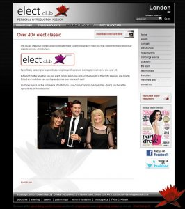 Elect's website where the company boasted of being 'the number one dating agency in the UK' with branches in several major cities